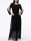 ByChicStyle Hollow Out Solid Chiffon Maxi Dress With Split Sleeve - Bychicstyle.com