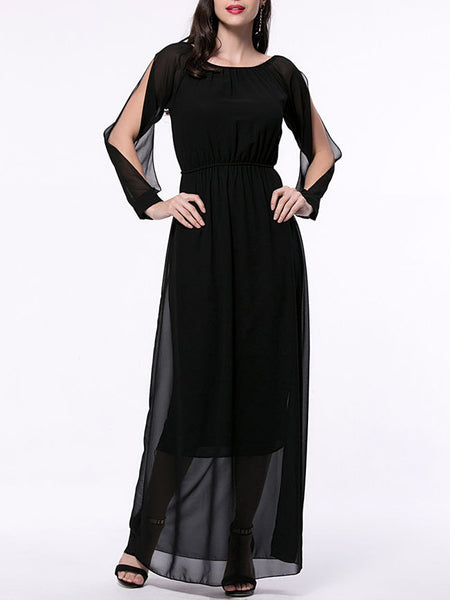 Hollow Out Solid Chiffon Maxi Dress With Split Sleeve - Bychicstyle.com
