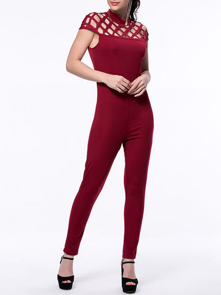 Casual Designed Hollow Out Solid Band Collar Slim-Leg Jumpsuit