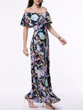 ByChicStyle Flounce Off Shoulder Floral Printed Maxi Dress - Bychicstyle.com