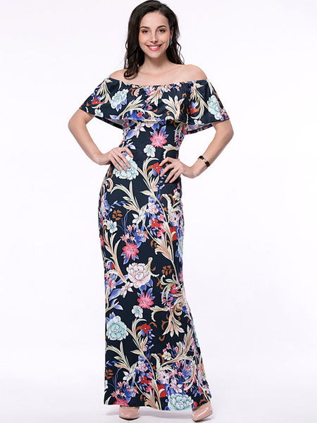 Flounce Off Shoulder Floral Printed Maxi Dress - Bychicstyle.com