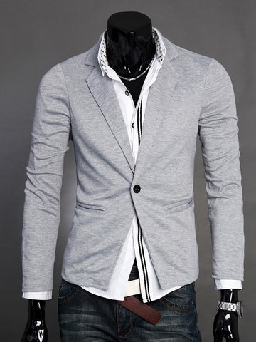 Classic Notch Lapel Solid Single Button Men Blazer - Bychicstyle.com