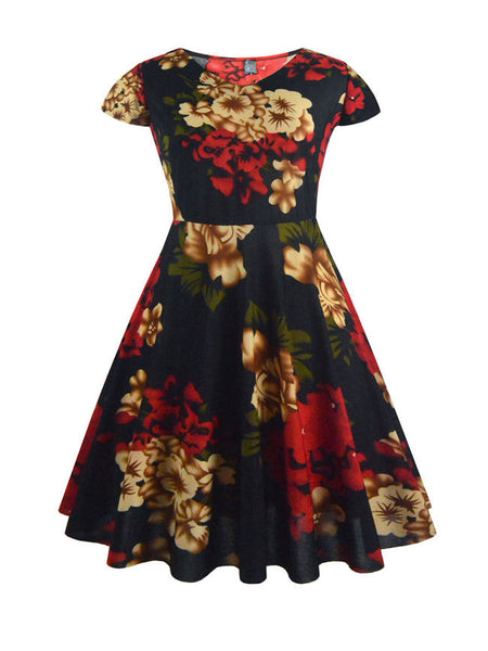 Fancy Color Block Floral Round Neck Plus Size Flared Dress - Bychicstyle.com