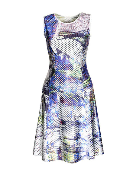 Casual Abstract Print Round Neck Skater Dress