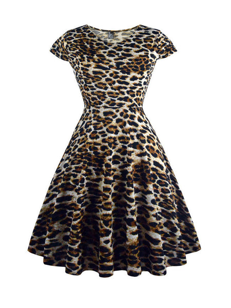 Round Neck Plus Size Flared Dress In Leopard - Bychicstyle.com