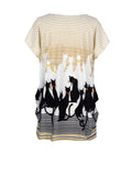 ByChicStyle Cat Striped Printed Plus Size T-Shirt - Bychicstyle.com