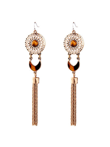 Tassel Amber Pendant Earring - Bychicstyle.com