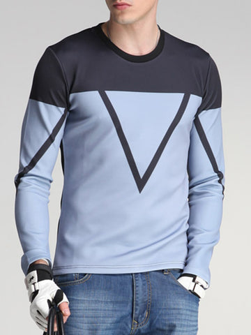 Crew Neck Color Block Geometric Men Sweatshirt - Bychicstyle.com