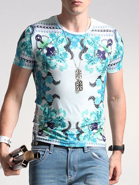 Suitable Printed Round Neck T-Shirt - Bychicstyle.com