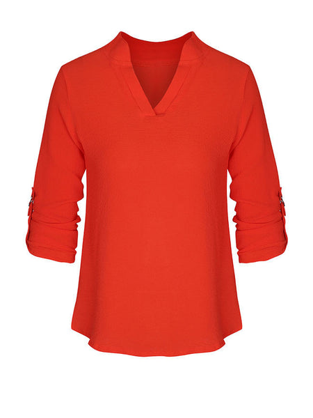 Casual Basic V-Neck Solid Roll-Up Sleeve Blouse