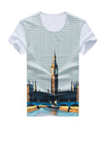 ByChicStyle Striped Building Printed Round Neck T-Shirt - Bychicstyle.com