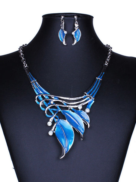 Classic Color Leaves Necklace Earrings Set - Bychicstyle.com