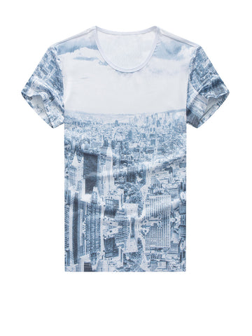 Casual Attractive Round Neck Scenery Printed T-Shirt