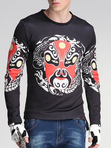 Facial Makeup Printed Round Neck Men Sweatshirt - Bychicstyle.com