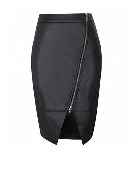 Slit Zips Solid Pencil Midi Skirt With Asymmetric Hem - Bychicstyle.com
