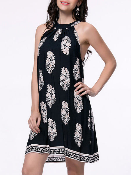 Loose Crew Neck Tribal Printed Shift Dress - Bychicstyle.com