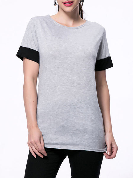 Casual Basic Round Neck Color Block Short Sleeve T-Shirt