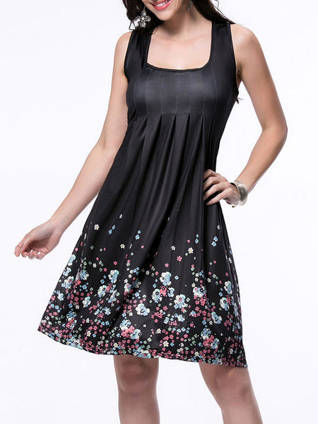 Square Neck Tiny Floral Printed Sleeveless Shift Dress - Bychicstyle.com
