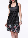ByChicStyle Square Neck Tiny Floral Printed Sleeveless Shift Dress - Bychicstyle.com