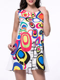 ByChicStyle Multi-Color Color Block Printed Sleeveless Shift Dress - Bychicstyle.com