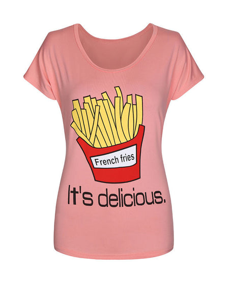 Cute French Fries Printed Short Sleeve T-Shirt - Bychicstyle.com