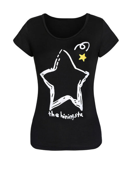 Round Neck Short Sleeve T-Shirt In Star Printed - Bychicstyle.com