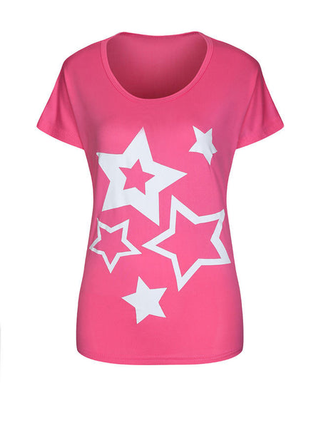 Color Block Star Round Neck Short Sleeve T-Shirt - Bychicstyle.com