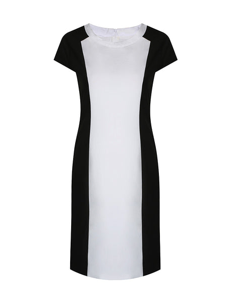 Modern Black White Color Block Round Neck Slit Bodycon Dress - Bychicstyle.com