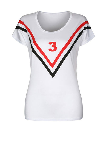 Number Striped Round Neck Short Sleeve T-Shirt - Bychicstyle.com