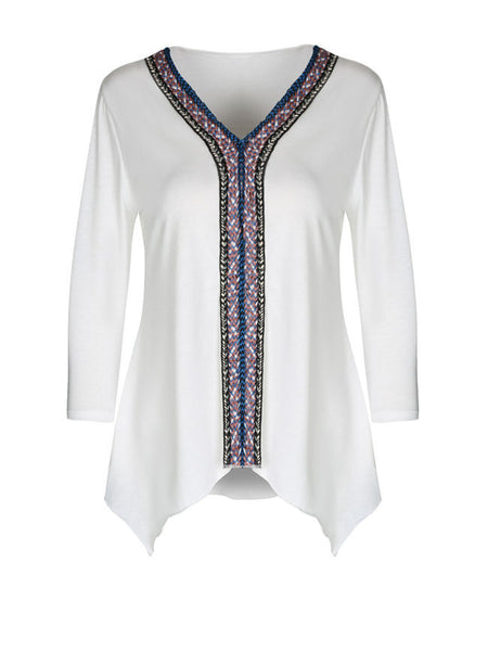 Tribal Patch Asymmetric Hem Deep V-Neck Long Sleeve T-Shirt - Bychicstyle.com