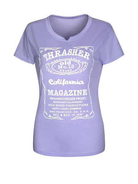 Delightful Letters Printed Short Sleeve T-Shirt - Bychicstyle.com