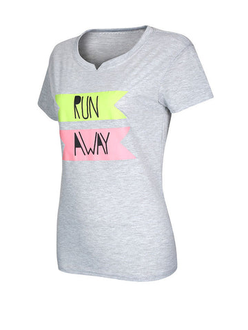 Casual Awesome Color Block Letters Short Sleeve T-Shirt