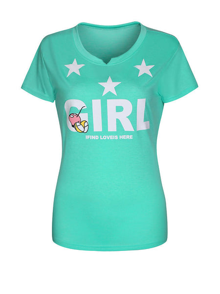 Cartoon Letters Star Short Sleeve T-Shirt - Bychicstyle.com