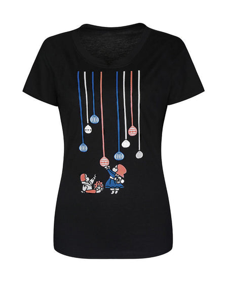 Lovely Cartoon Printed Round Neck Short Sleeve T-Shirt - Bychicstyle.com