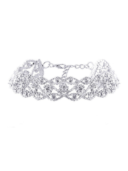 Casual Alloy Rhinestone Hollow Out Choker Necklace