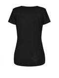 ByChicStyle Casual V-Neck Contrast Trim Short Sleeve T-Shirt