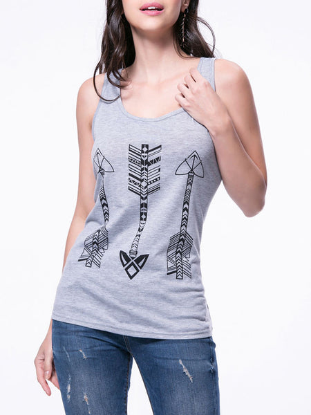 Casual Arrows Printed Scoop Neck Racerback Sleeveless T-Shirt