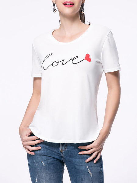 Love Printed Curved Hem Short Sleeve T-Shirt - Bychicstyle.com