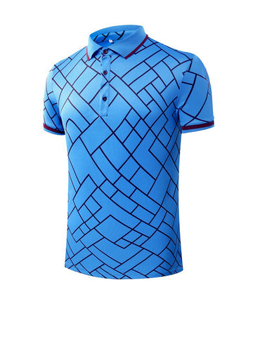 Classic Polo Collar Geometric Printed T-Shirt - Bychicstyle.com