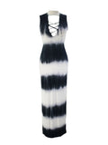 ByChicStyle Hollow Out Striped Tie/Dye Cutout Maxi Dress - Bychicstyle.com