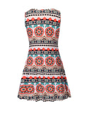 ByChicStyle Round Neck Skater Dress In Striped Tribal Printed - Bychicstyle.com