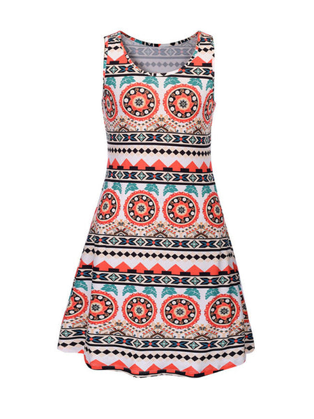 Round Neck Skater Dress In Striped Tribal Printed - Bychicstyle.com