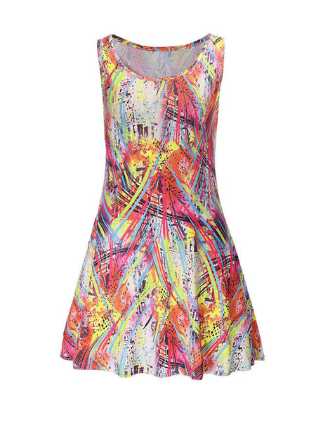 Round Neck Colorful Abstract Print Skater Dress - Bychicstyle.com