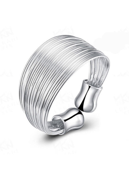 Casual Adjustable Silver Ring
