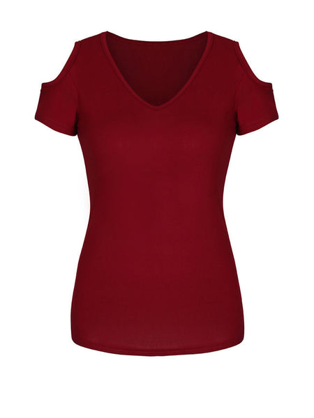 Simple Solid Open Shoulder Short Sleeve T-Shirt - Bychicstyle.com