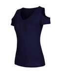 ByChicStyle Simple Solid Open Shoulder Short Sleeve T-Shirt - Bychicstyle.com
