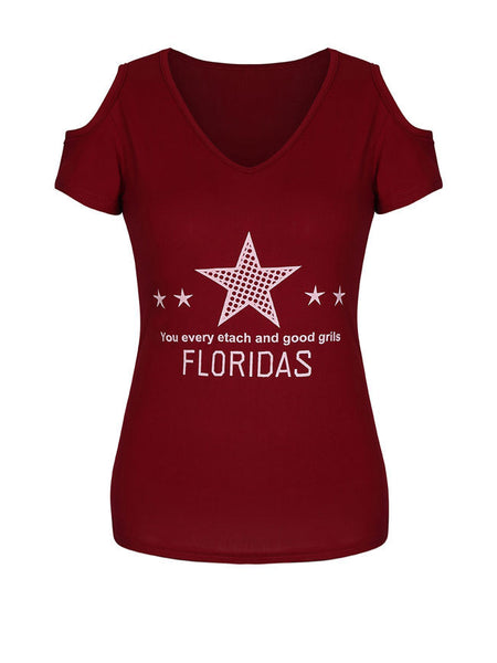 Letters Star Open Shoulder Short Sleeve T-Shirt - Bychicstyle.com