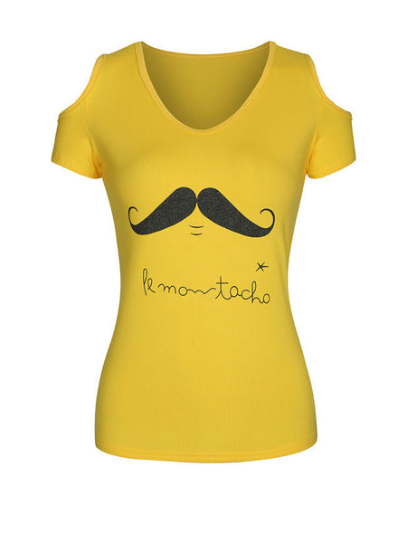 Moustache Printed Open Shoulder Short Sleeve T-Shirt - Bychicstyle.com