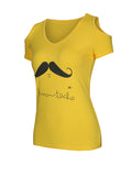ByChicStyle Moustache Printed Open Shoulder Short Sleeve T-Shirt - Bychicstyle.com