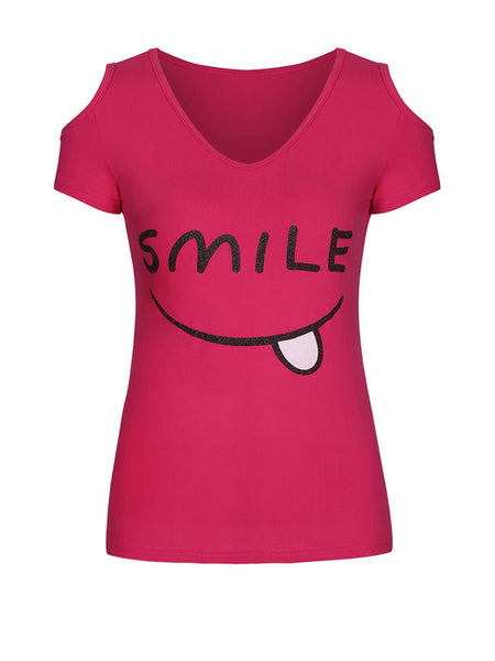 Smile Printed Open Shoulder Short Sleeve T-Shirt - Bychicstyle.com